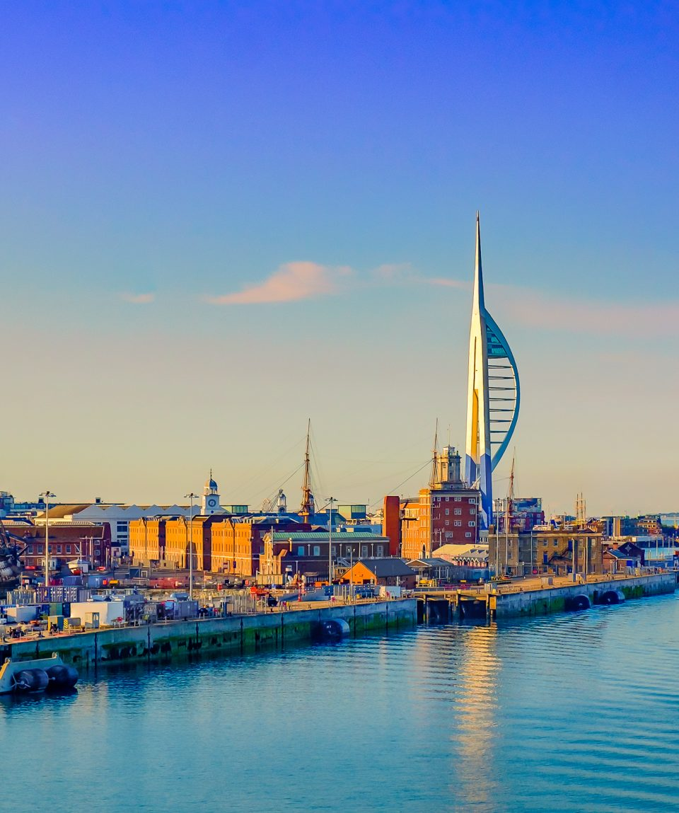 Portsmouth, England, June 2018, Portsmouth port in the late evening