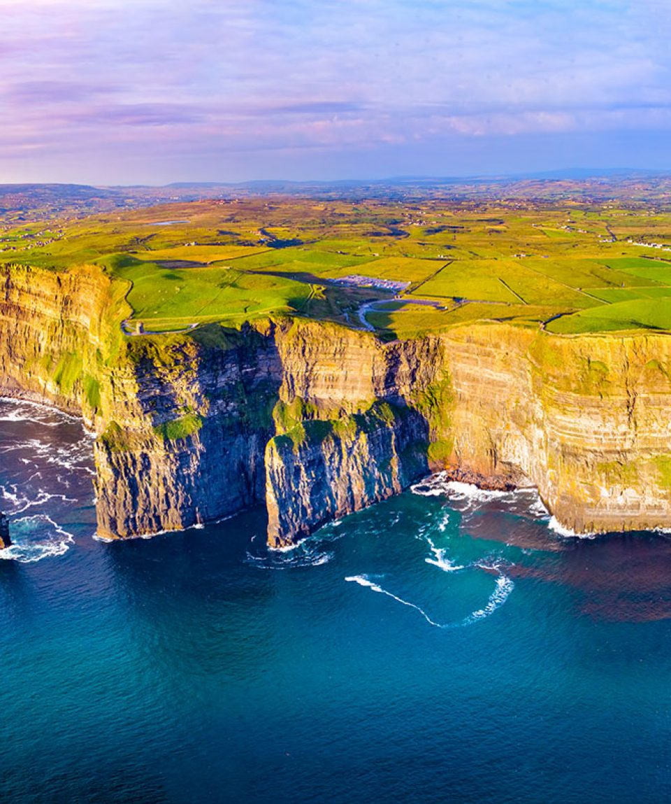 View of Cliffs of Moher, Liscannor, Ireland. The Cliffs of Moher