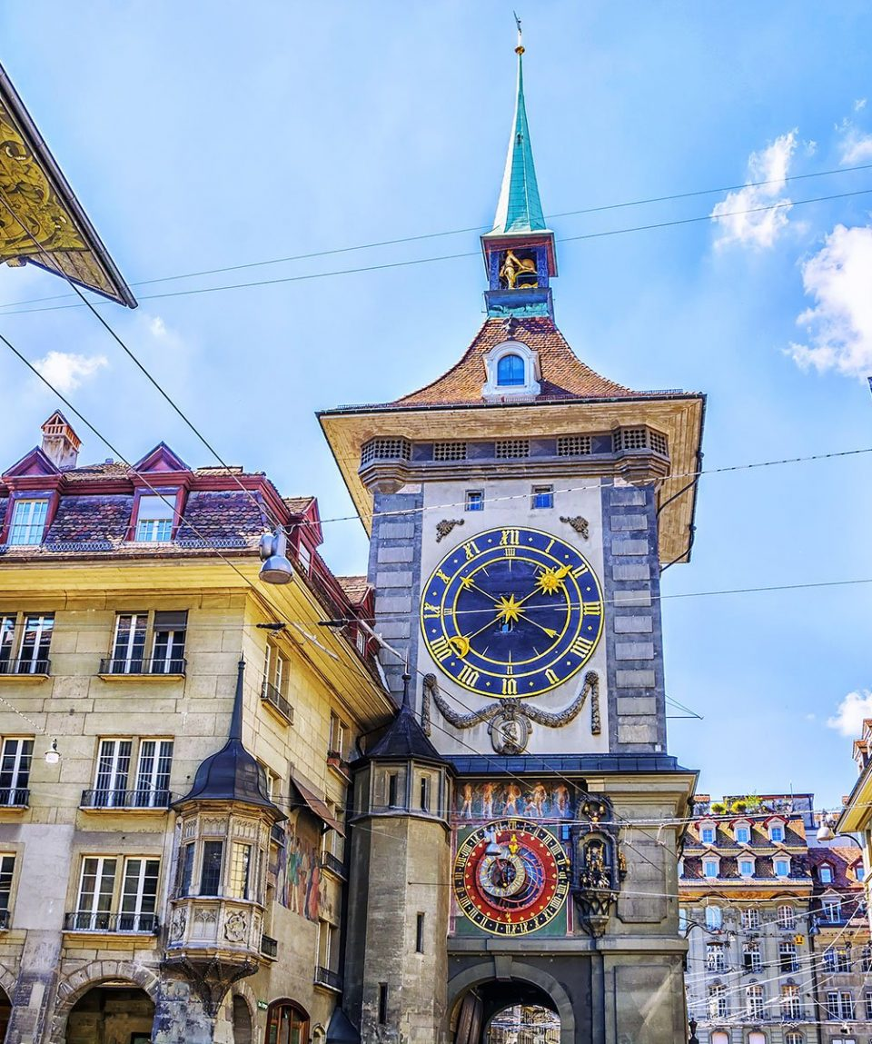 Astronomical clock on the medieval Zytglogge clock tower in Kram