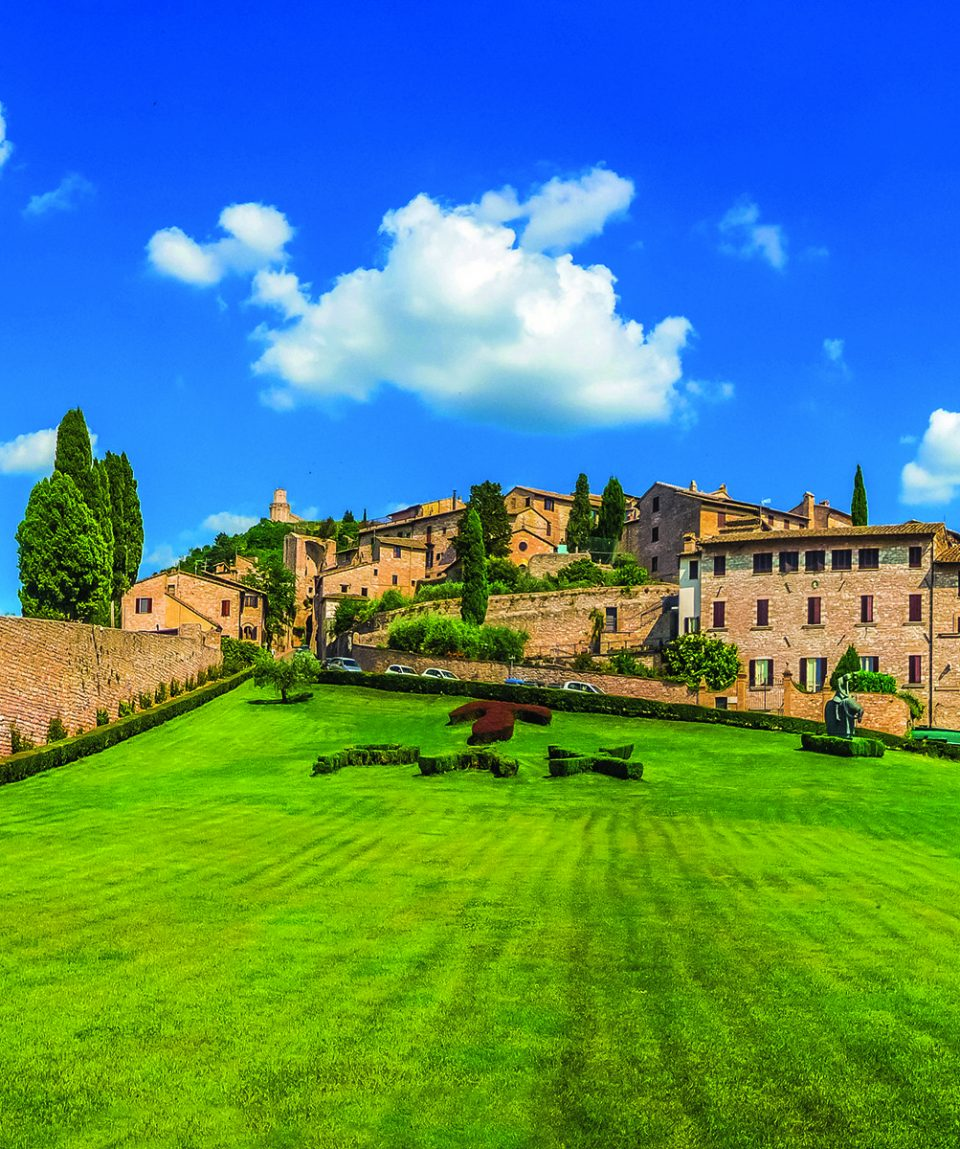Garden of famous Basilica of St. Francis of Assisi, Umbria, Ital